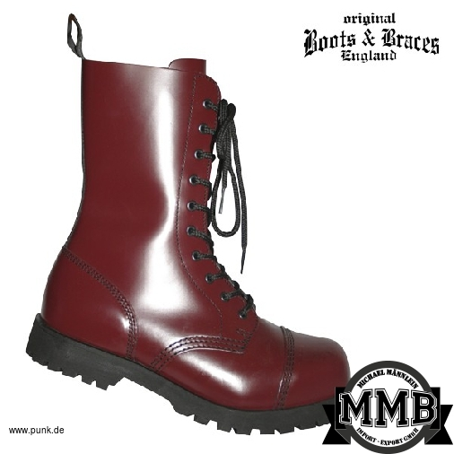 Boots and Braces: Stiefel 10-Loch, cherry mit Stahlkappen