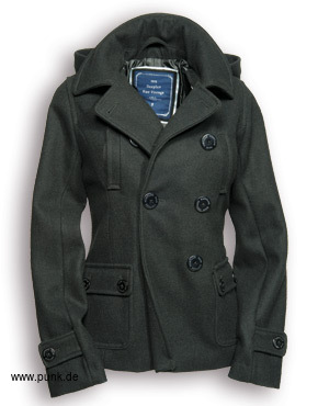 Ladies Pea Coat, schwarz