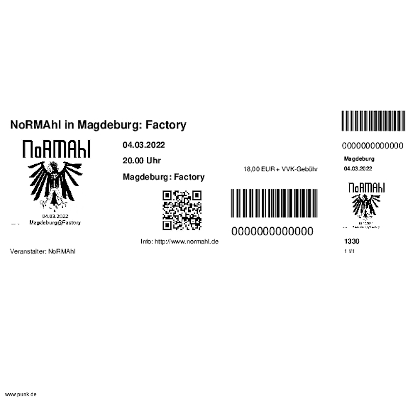 : HardTicket NoRMAhl in Magdeburg: Factory